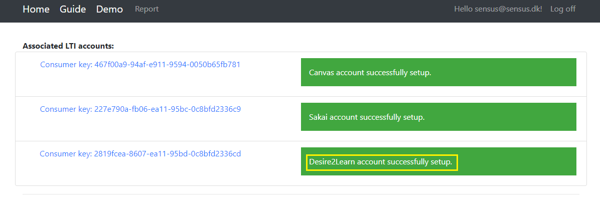 Screenshot showing that the associated lti account is set up correctly